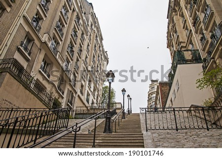 Paris, France. The picturesque hillside stairs to Montmartre