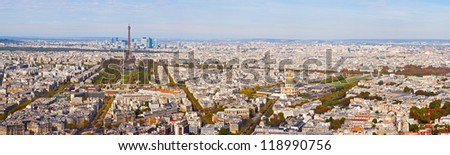Paris. France. The top view on the central part of the city