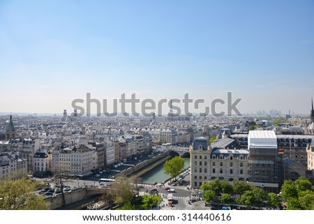 Paris from above, the Notre Dame view