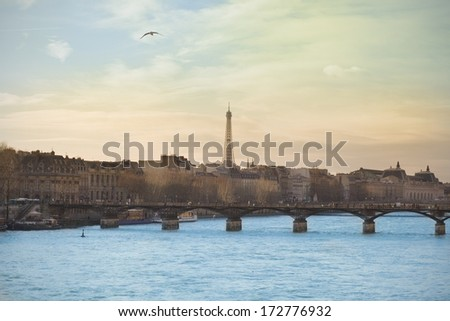 Paris from the Seine river. - stock photo
