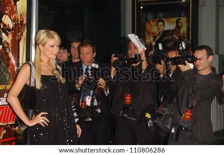 """Paris Hilton at the Los Angeles Premiere of """"Rush Hour 3"""". Mann's Chinese Theater, Hollywood, CA. 07-30-07 - stock photo"""