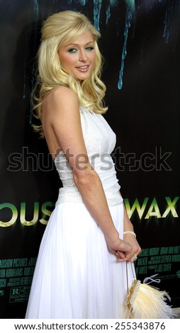"""Paris Hilton attends the Los Angeles Premiere of """"House of Wax"""" held at the Mann Village Theatre in Westwood, California, United States on April 26, 2005. - stock photo"""