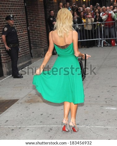 Paris Hilton, in a Diane von Furstenberg dress, at talk show appearance for The Late Show With David Letterman, Ed Sullivan Theatre, New York, September 25, 2008
