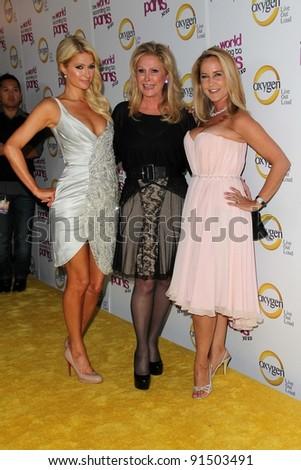 "Paris Hilton, Kathy Hilton, Erin Murphy at ""The World According to Paris"" Premiere Party, Roosevelt Hotel, Hollywood, CA 05-17-11 - stock photo"