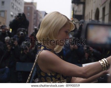 Paris Hilton outside the Ed Sullivan Theater before a taping of the David Letterman Show on January 29th, 2008. - stock photo