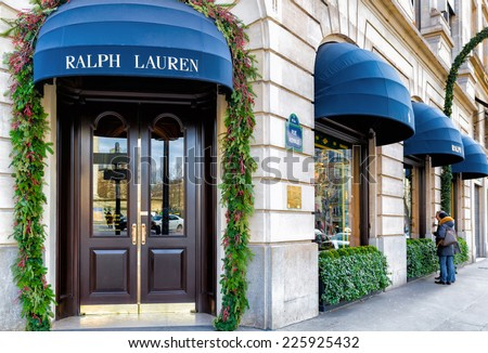 PARIS-JAN 5, 2014:Ralph Lauren's first store in Paris opened 1986 in the posh shopping district near the Place de la Madeleine, shown decorated for the holidays.There are now two more stores in Paris. - stock photo