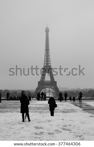 PARIS - JANUARY 19: Eiffel tower in snow, view from Trocadero, on January 19, 2013 in Paris. Snowfall is a quite rare yet beautiful event in the capital of France