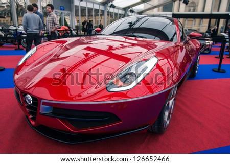 "PARIS - JANUARY 31 :Exposition ""Concept cars"". Concept CARROZERIA TOURING DISCO VOLANTE, January 31, 2013 Paris, France. - stock photo"