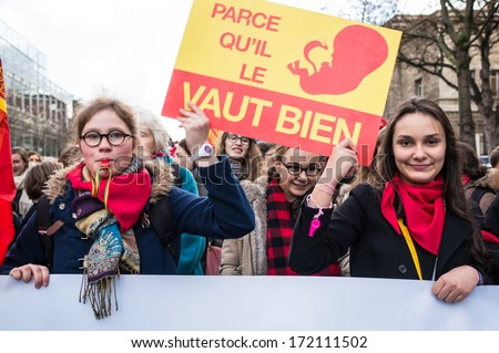 "PARIS - JANUARY 19, 2014: People protested abortion in France in ""Marche pour la vie"" on the eve of a parliamentary debate on a bill that would make terminations of pregnancy easier."