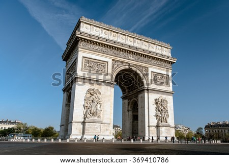 PARIS-JANUARY 10: The Arc de Triomphe with traffic around on April 17,2015 in Paris. The Arc de Triomphe is situated at the western end of the Champs-Elysee in Paris, France.