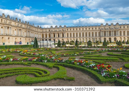 PARIS - JULY 23: view of Versailles Palace on July 23, 2015 in Paris, France. In year 2014 more than 5 million tourists visited this 17th century palace of Versailles. - stock photo