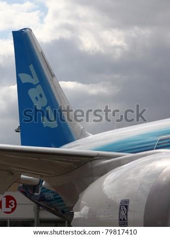 PARIS - JUN 23: Boeing 787 Dreamliner on 49th Paris Air Show on June 23, 2011 in Paris, France. - stock photo