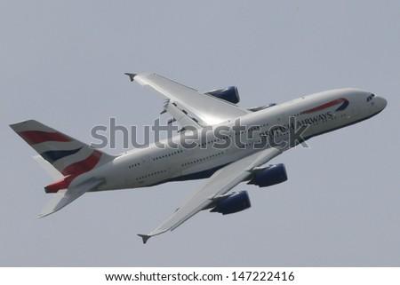 PARIS - JUN 17: British Airways Airbus A-380 shown at 50th Paris Air Show on June 17, 2013, Paris, France. - stock photo