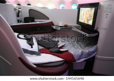 PARIS - JUN 17: Business Class Bed of Qatar Airways Boeing 787 Dreamliner shown at 50th Paris Air Show on June 17, 2013, Paris, France. - stock photo