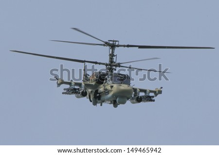 PARIS - JUN 17: Ka-52 Alligator combat helicopter shown at 50th Paris Air Show on June 17, 2013, Paris, France. - stock photo