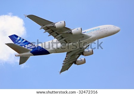 PARIS - JUNE 21: Airbus A380 exhibition flight at Le Bourget Air Show on June 21, 2009 in Paris, France - stock photo