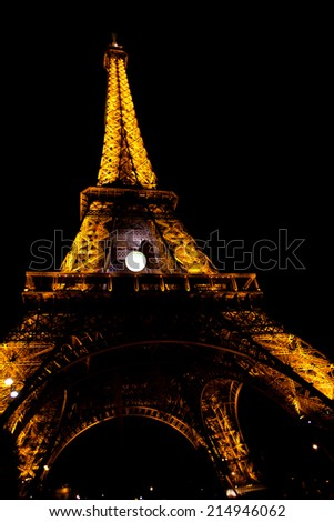 PARIS - June 1: Light Performance Show on June 1, 2014 in Paris, France. The Eiffel tower stands 324 metres (1,063 ft) tall. Monument was built in 1889, attendance is over 7 millions people. - stock photo