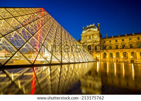 Paris - June 18: Louvre museum at dusk on June 18, 2014 in Paris. This is one of the most popular tourist destinations in France displayed over 60,000 square meters of exhibition space. - stock photo