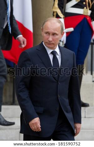 Paris - June 21 : Vladimir Putin during a work visit at l'Elys�©e, june 21, 2011 in Paris, France - stock photo
