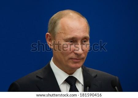 Paris - June 21 : Vladimir Putin during a work visit at Matignon, june 21, 2011 in Paris, France - stock photo