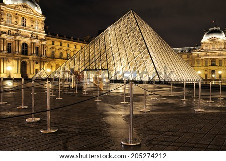 PARIS - MAR 2: External night view of the Louvre Museum (Musee du Louvre) on March 2, 2014 in Paris, France.