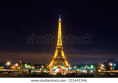 PARIS - MARCH 07 : Light Performance Show on March 07, 2013 in Paris. The Eiffel tower stands 324 metres (1,063 ft) tall. Monument was built in 1889, attendance is over 7 millions people. - stock photo