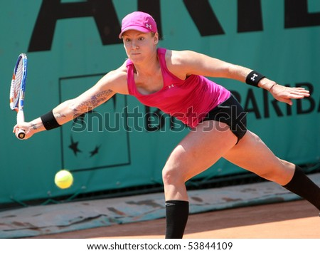 PARIS - MAY 20: Bethanie MATTEK-SANDS of USA in action at French Open, Roland Garros qualification 2nd round match on May 20, 2010 in Paris, France. - stock photo