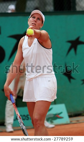 PARIS - MAY 22: Hungarian professional tennis player Greta Arn during her match at French Open, Roland Garros on May 22, 2008 in Paris, France. - stock photo