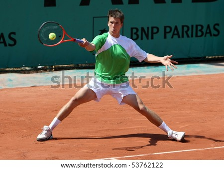 PARIS - MAY 20: Martin FISCHER of Austria in action at French Open, Roland Garros qualification 2nd round match on May 20, 2010 in Paris, France. - stock photo