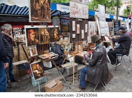 PARIS - MAY 30,2014: Public painter and buyer on Montmartre hill in Paris on May 30 2014 in Paris, France. Many artists worked around the community of Montmartre such as Pablo Picasso - stock photo