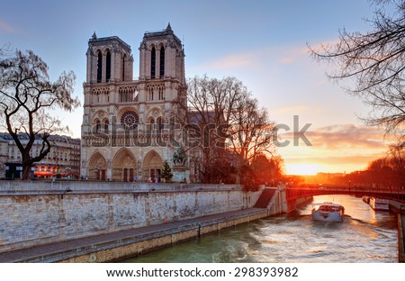 Paris - Notre Dame at sunrise, France - stock photo