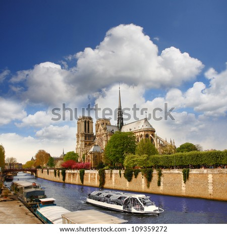 Paris, Notre Dame with boat on Seine, France - stock photo