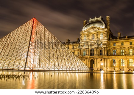 PARIS - NOV 1: Louvre Museum at twilight in autumn in November 1,2014. Louvre Museum is one of the world's largest museums with more than 8 million visitors each year.