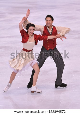 PARIS - NOVEMBER 16: Anna CAPPELLINI / Luca LANOTTE of Italy perform at ice dance short dance event at Eric Bompard Trophy on November 16, 2012 at Palais-Omnisports de Bercy, Paris, France. - stock photo