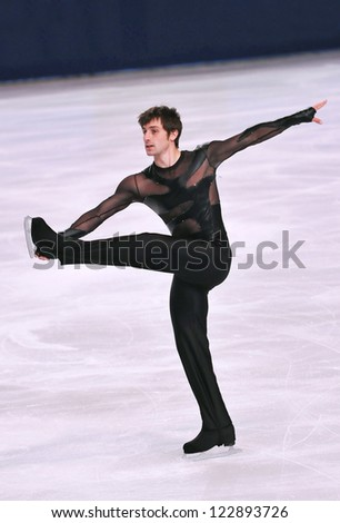 PARIS - NOVEMBER 16: Brian JOUBERT of France performs at men short program event at Eric Bompard Trophy on November 16, 2012 at Palais-Omnisports de Bercy, Paris, France. - stock photo