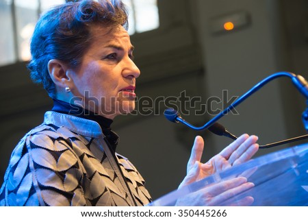 PARIS - NOVEMBER 28: Christiana Figueres, Executive Secretary of the United Nations Framework Convention on Climate Change, speaks during the COP21 climate summit in Paris, France, November 28, 2015. - stock photo