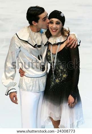 PARIS - NOVEMBER 15: Italian ice dancers Federica Faella / Massimo Scali pose during medal ceremony at ISU Grand Prix - Eric Bompard Trophy in Bercy, Paris, France on November 15, 2008. - stock photo