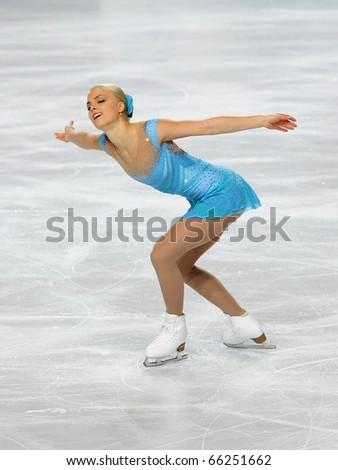 PARIS - NOVEMBER 26: Kiira KORPI of Finland performs at ladies short skating event of the ISU Grand Prix Eric Bompard Trophy, November 26, 2010 at Palais-Omnisports de Bercy, Paris, France. - stock photo