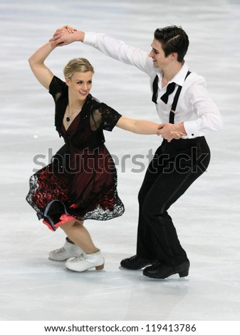 PARIS - NOVEMBER 16: Madison HUBBELL / Zachary DONOHUE of USA perform short dance at the ISU Grand Prix Eric Bompard Trophy on November 16, 2012 at Palais-Omnisports de Bercy, Paris, France. - stock photo