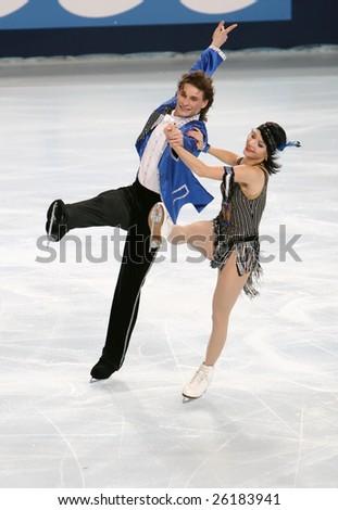 PARIS - NOVEMBER 14: Russia's ice dancers Ekaterina RUBLEVA / Ivan SHEFER perform original dance at Eric Bompard Trophy November 14, 2008 at Palais-Omnisports de Bercy, Paris, France. - stock photo
