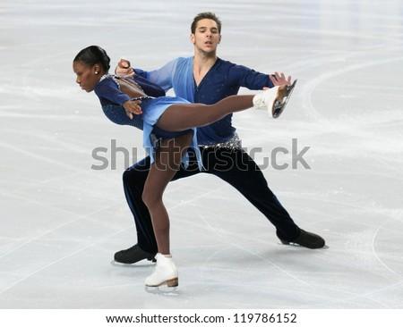 PARIS - NOVEMBER 17: Vanessa JAMES / Morgan CIPRES of France perform during pairs free skating event at Eric Bompard Trophy on November 17, 2012 at Palais-Omnisports de Bercy, Paris, France. - stock photo