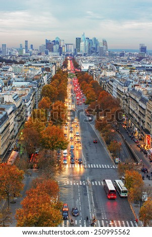 PARIS - NOVEMBER 28: View from the Triumph arc to the street in Paris -  capital and most populous city of France. City life in an autumn time on November 2014, Paris. - stock photo
