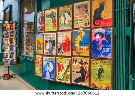 PARIS - OCT 29: Shop with posters in Montmartre, on October 29, 2014 in Paris, France. Posters of Le Chat Noir cabaret are very popular souvenir in Paris. - stock photo
