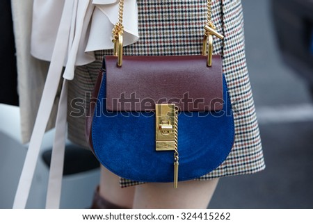 PARIS - OCTOBER 1: Chloe bag before Chloe show, Paris Fashion Week Day 3, Spring / Summer 2016 street style on October 1, 2015 in Paris. - stock photo