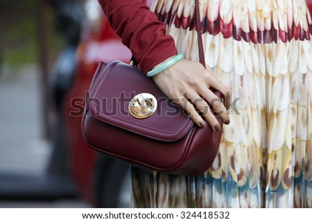 PARIS - OCTOBER 1: Hill friends bag before Chloe show, Paris Fashion Week Day 3, Spring / Summer 2016 street style on October 1, 2015 in Paris. - stock photo