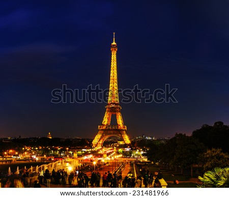 PARIS - OCTOBER 9: Paris cityscape panorama with Eiffel tower on October 9, 2014 in Paris, France. It's an iron lattice tower on the Champ de Mars and  was named after the engineer Gustave Eiffel.