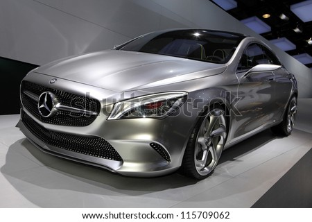 PARIS - OCTOBER 14: The Mercedes Concept Style Coupe displayed at the 2012 Paris Motor Show on October 14, 2012 in Paris - stock photo