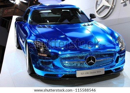PARIS - OCTOBER 14: The Mercedes SLS AMG Electric Drive displayed at the 2012 Paris Motor Show on October 14, 2012 in Paris - stock photo