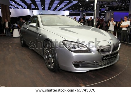 PARIS - OCTOBER 12: The new BMW 6 Series displayed at the 2010 Paris Motor Show on October 12, 2010 in Paris