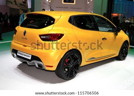 PARIS - OCTOBER 14: The new Renault Clio RS displayed at the 2012 Paris Motor Show on October 14, 2012 in Paris